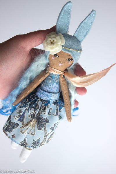 "Petite Heirloom Doll  9.25"" ish tall, Bunny Girl by Liberty Lavender Dolls. Blue ombre hair."