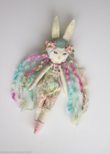 "Petite Heirloom Doll  9.25"" ish tall, Bunny Girl, Minty Colorful Hair."