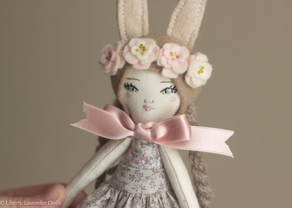 "Petite Heirloom Doll  9.25"" ish tall, Bunny Girl by Liberty Lavender Dolls."