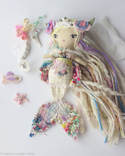 "Reserved - final payment for: Mini Mermaid Doll Play Set (with sea unicorn, fishy, and starfish friends). About 9.5"" ish Handmade Cloth Art Doll"