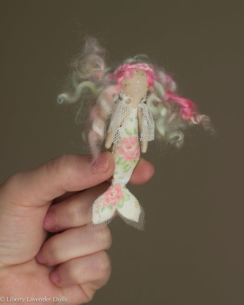 "Itty Bitty Mermaid Doll. Miniature tiny decorative cloth doll about 3.25"" inches tall."