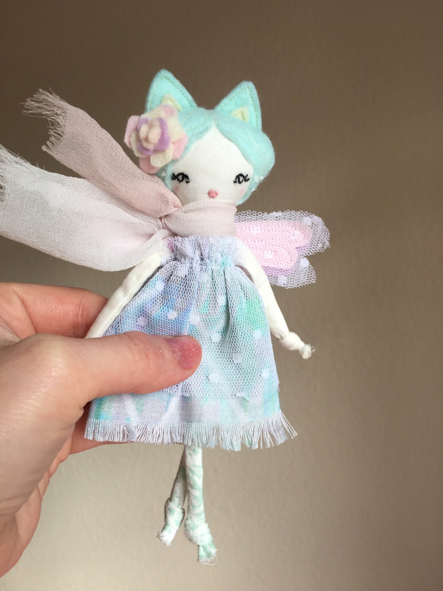 "Tiny Kitty Fairy Doll, About 6.5"" tall"