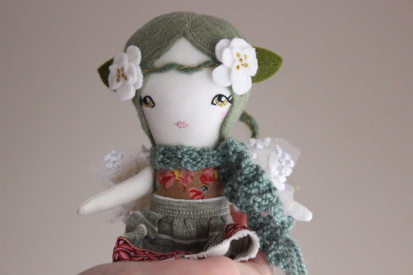 "Mini Fairy Heirloom Doll -  6.75"" ish Handmade Cloth Doll - Floral, White & Green"