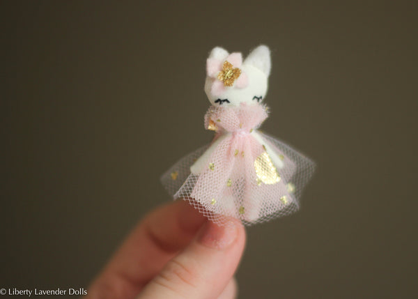 "Itty Bitty Cat Ballerina Doll. Miniature decorative cloth doll About 2.25"" inches tall."