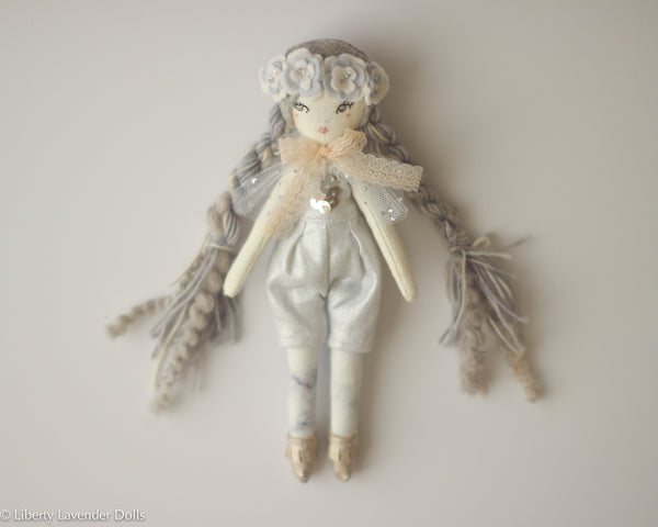 "Petite Heirloom Doll  8"" ish tall  by Liberty Lavender Dolls. Silvery Gray."