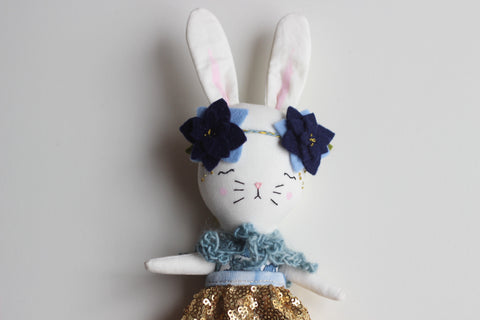 "Little bunny heirloom doll. 9.5"" ish Bunny Cloth Doll. Blues and Gold."
