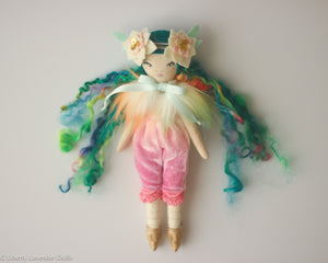 "Petite Heirloom Doll  8"" ish tall  by Liberty Lavender Dolls. Green Rainbowy"