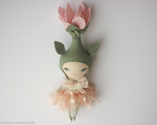 "Mini Flower Sprite Art Doll (for decoration) about 9.5"" ish tall  by Liberty Lavender Dolls."