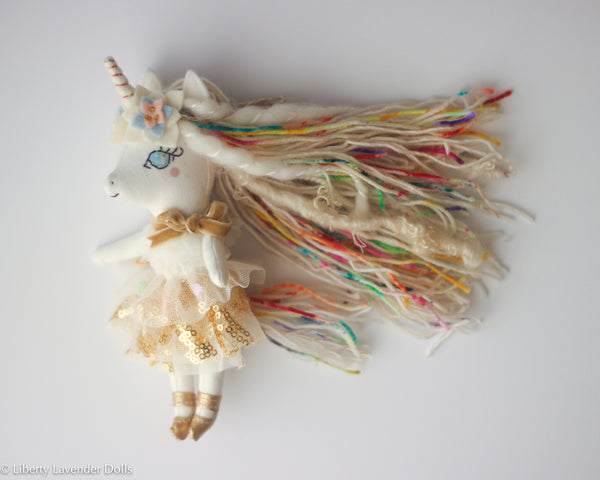 "Mini Unicorn Doll  7"" ish tall  by Liberty Lavender Dolls."
