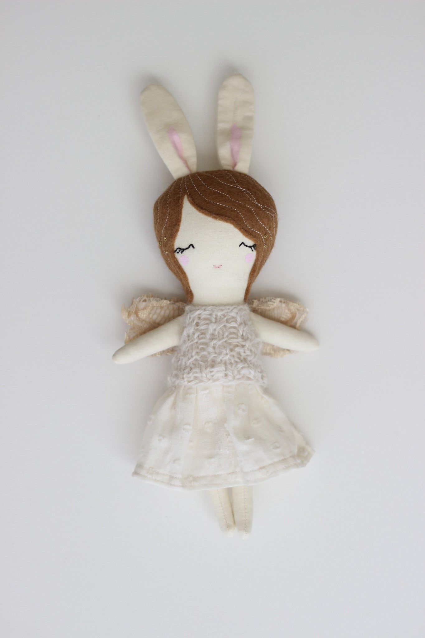 "Mini Fairy Heirloom Doll -  9"" ish Handmade Cloth Doll / Brunette Bunny"