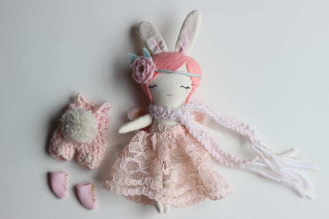 "Reserved - Mini Fairy Heirloom Doll play set -  8.5"" ish Handmade Cloth Doll / Peachy Pink Bunny"
