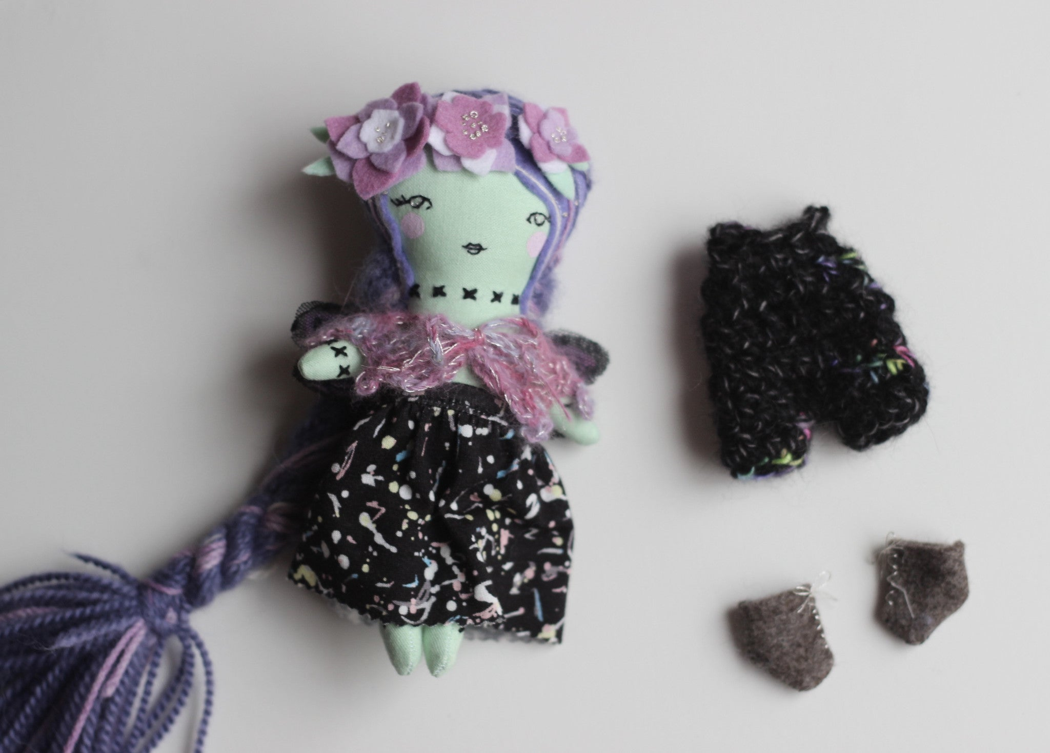 "Mini Fairy Princess Zombie Heirloom Doll Play Set -  6.5"" ish Handmade Cloth Dress-up Doll"