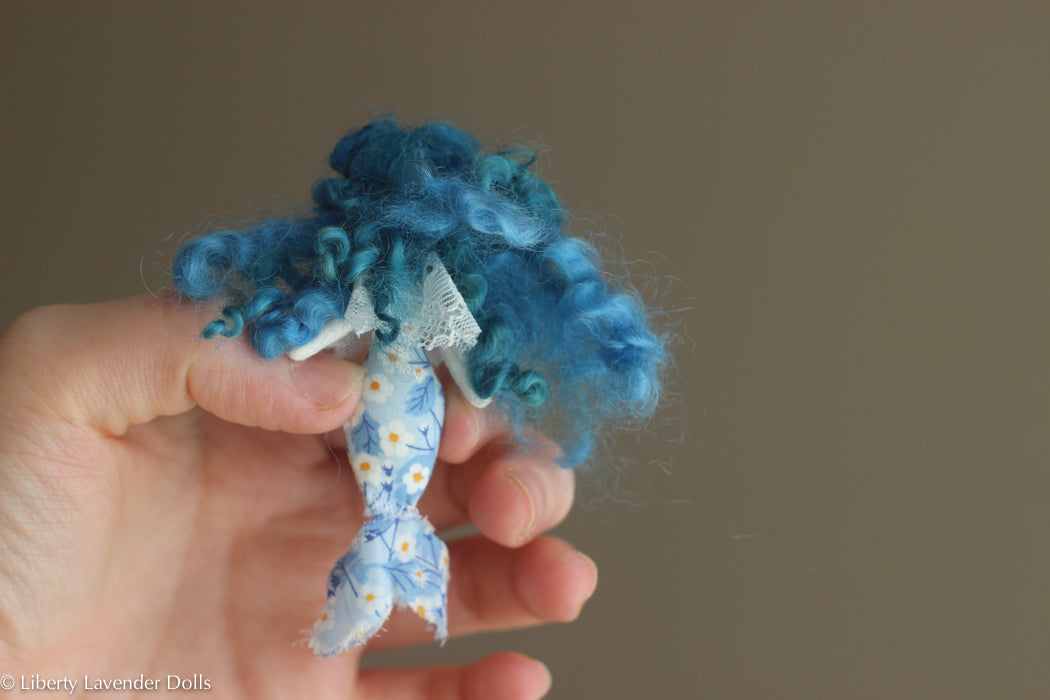 "Miniature Mermaid Doll. Tiny decorative cloth doll about 3"" inches tall."