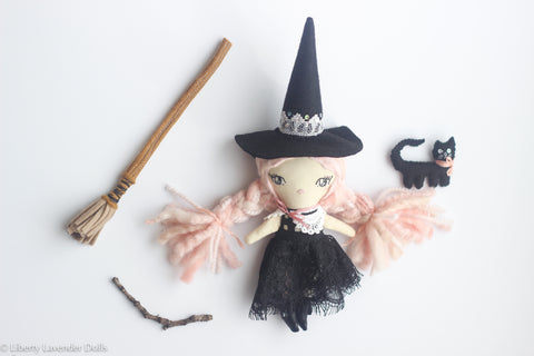 Handmade Witch Doll Mini Play Set. Cloth Art Doll about 8.5 inches tall