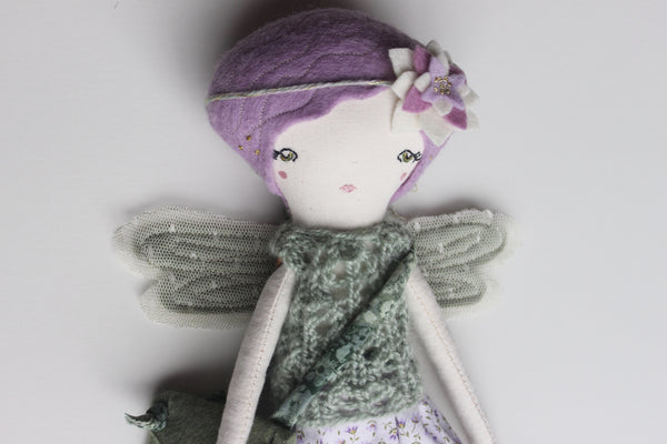 "Little Fairy Heirloom Doll. Handmade Cloth Doll. 11"" ish tall. Purple/green"