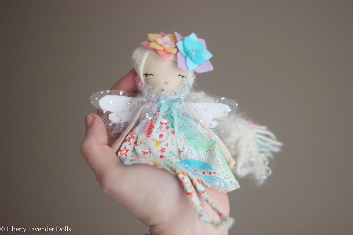 "Tiny Rainbow Flower Fairy Doll.  Miniature Decorative Doll about 6.5 "" tall"