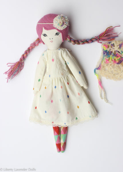 "Heirloom Doll 15"" ish tall. Linen Pink Rainbowy Girl."