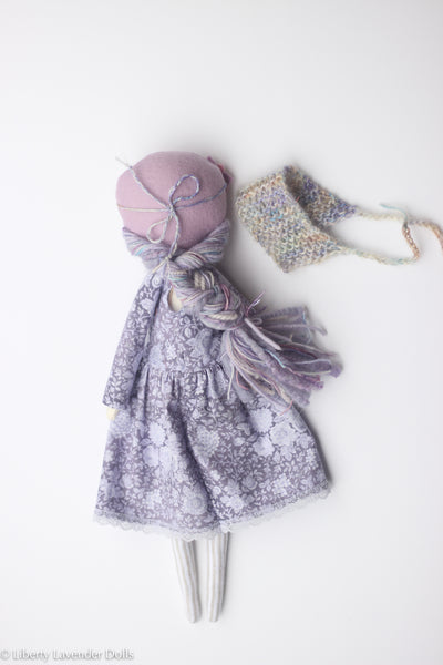 "Heirloom Doll 15"" ish tall. Linen Purples Girl"