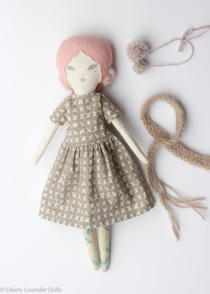 "Heirloom Doll 15"" ish tall. Peachy Pink Girl"