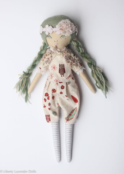 "Heirloom Doll 15"" ish tall. Green Girl"