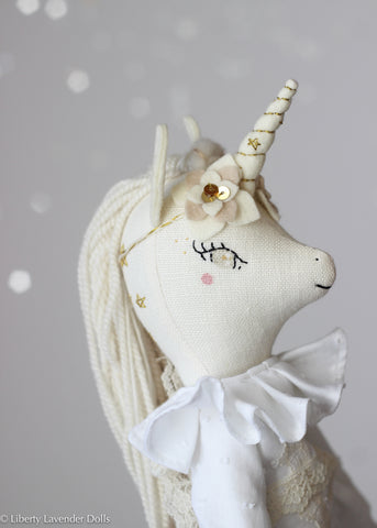 "Unicorn Doll 16"" ish tall. Heirloom Cloth Doll. Creamy white with golden stars."