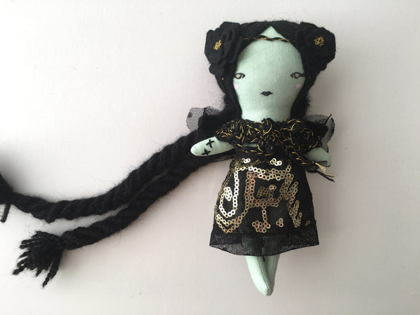 "Mini Fairy Princess Zombie Heirloom Doll -  6.5"" ish Handmade Cloth Doll - Black & Gold"