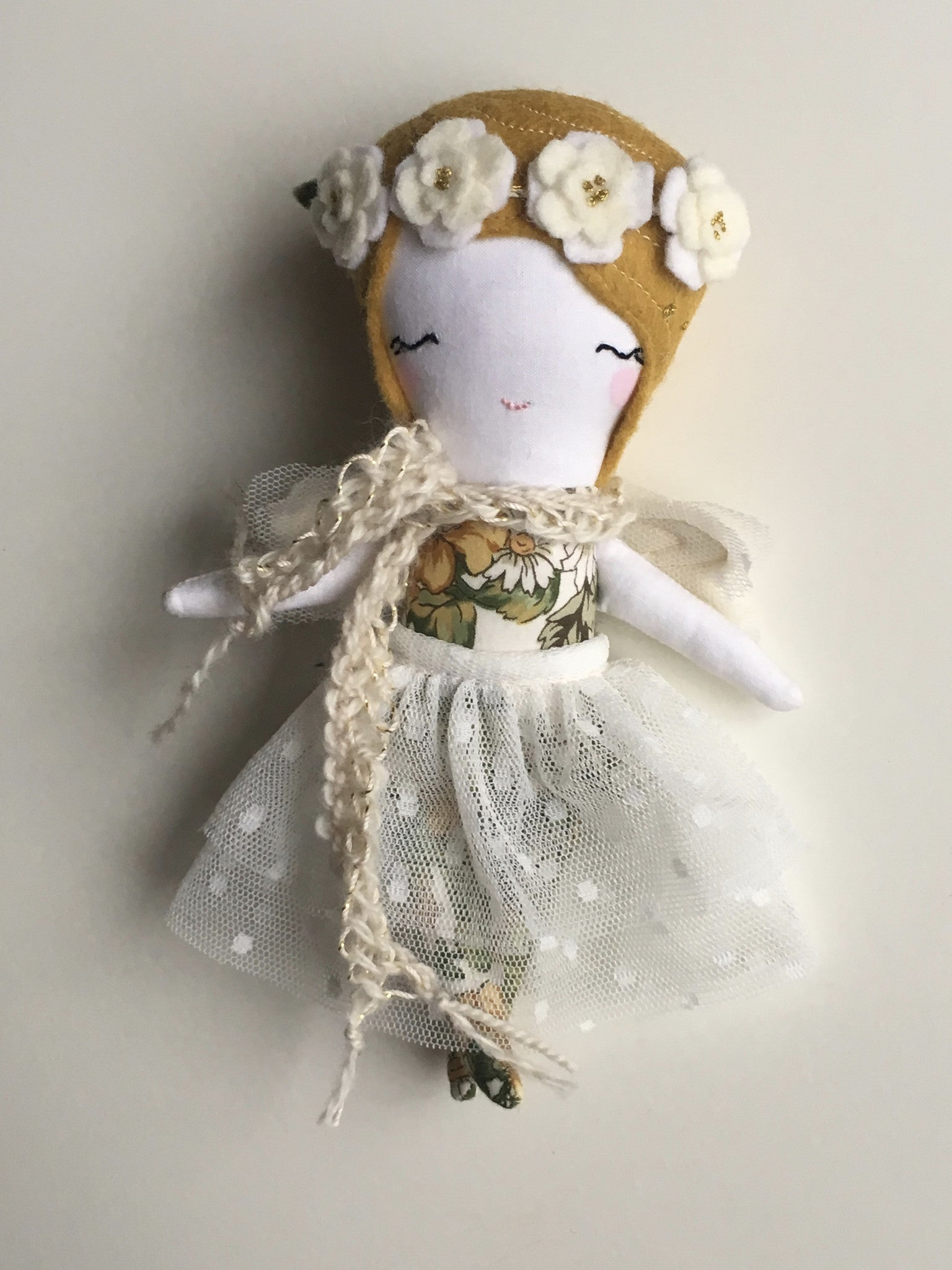 "Mini Fairy Heirloom Doll -  6.5"" ish Handmade Cloth Doll / Honey Mustard"