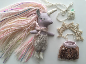 Unicorn Doll Play Set - Mini Heirloom Cloth Doll  - limited edition linen grayish/pink/colorful - about 7 inches tall