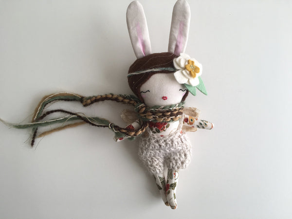 "Mini Fairy Heirloom Doll -  8"" ish Handmade Cloth Doll / Autumnal Brunette Bunny"