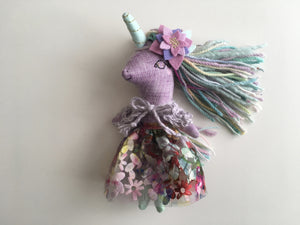 Unicorn Doll - Mini Heirloom Cloth Doll  - limited edition linen purple/minty/colorful - about 7 inches tall