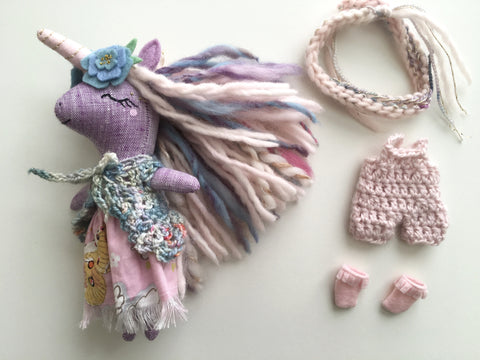 Unicorn Doll Play Set - Mini Heirloom Cloth Doll  - limited edition linen purple/pink/colorful - about 7 inches tall