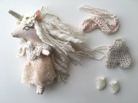 Unicorn Doll Play Set - Mini Heirloom Cloth Doll  - linen peaches and cream - about 7 inches tall