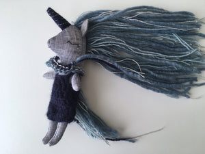 Unicorn Doll - Mini Heirloom Cloth Doll  - limited edition linen blues/gray/silver - about 7 inches tall