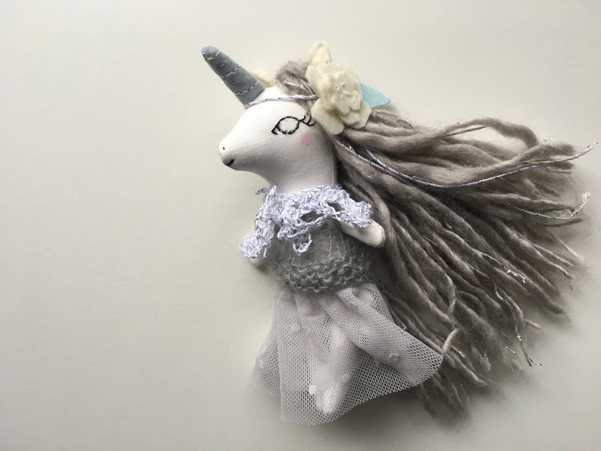 Unicorn Doll - Mini Heirloom Cloth Doll  - gray/silver - about 6.5 inches tall