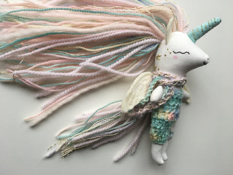 Unicorn Pegasus Doll - Mini Heirloom Cloth Doll  - colorful/pastels - about 6.5 inches tall