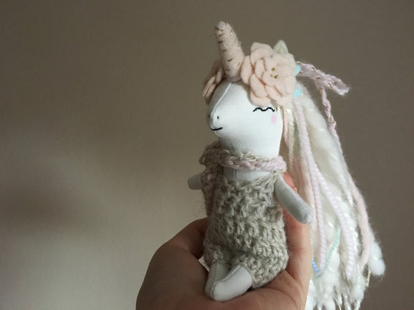 Unicorn Doll - Mini Heirloom Cloth Doll  - white/pastels - about 6.5 inches tall