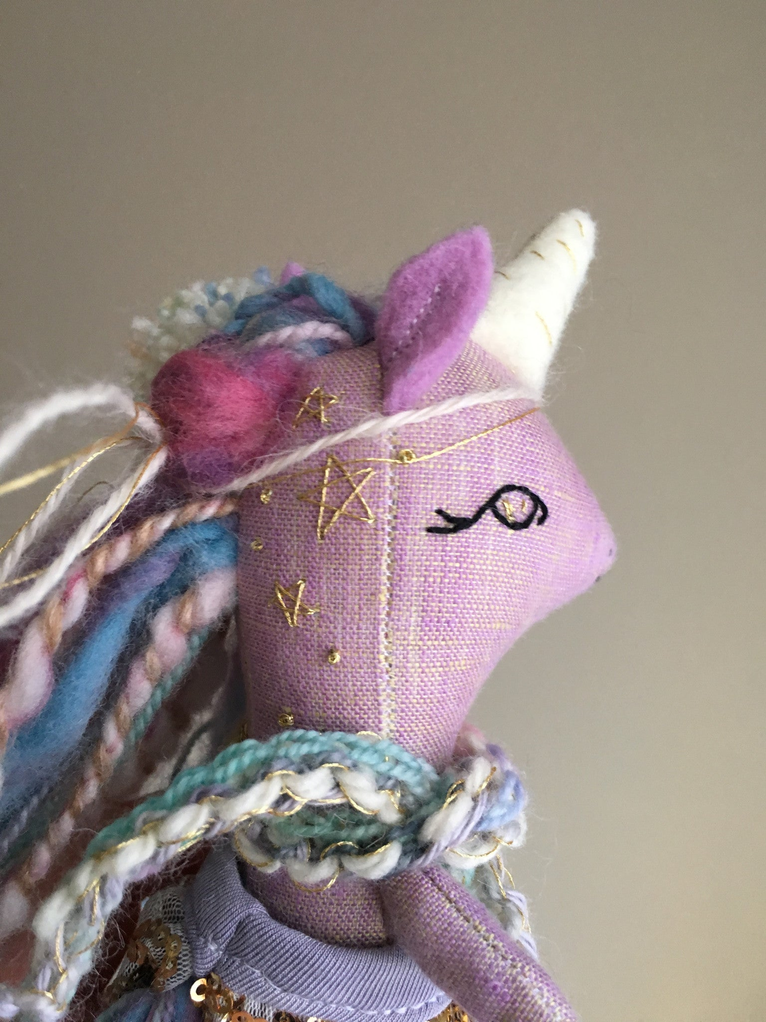 Reserved Unicorn Doll - Purple Colorful with Stars - Mini Heirloom Cloth Doll - about 6.75 inches tall