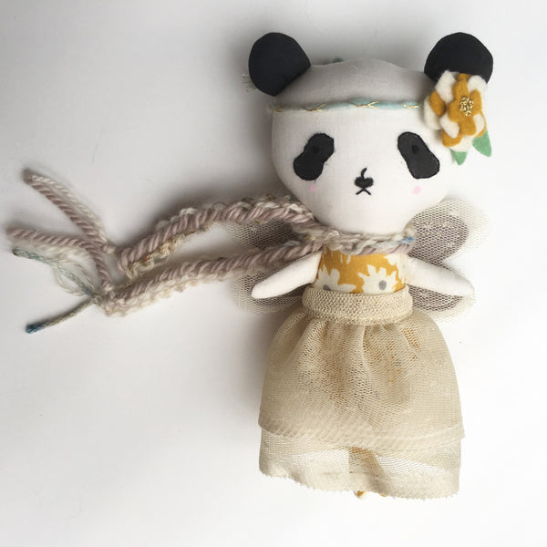 "Reserved - Panda Fairy Heirloom Doll - Slightly Flawed OOAK prototype doll -  6.75"" ish"