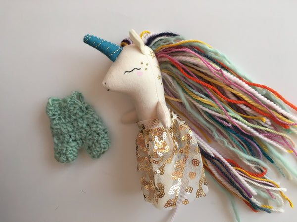 Reserved Unicorn Doll - Colorful with Stars - Mini Heirloom Cloth Doll - about 7 inches tall