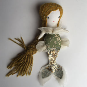 "Reserved Mini Mermaid Doll - Flawed doll Floral Green Sparkle with stars -  10"" ish"