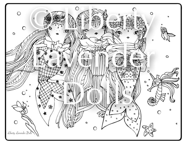 Printable Coloring Sheets, 7 Pages, DOWNLOAD PDF Digital Art