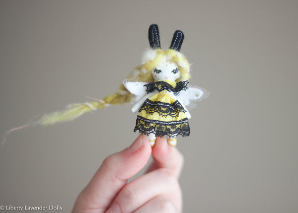 "Miniature Bee Fairy Doll No. 1 Tiny decorative cloth doll About 2.5"" inches tall."
