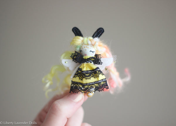 "Miniature Bee Fairy Doll No. 3 Tiny decorative cloth doll About 2.5"" inches tall."