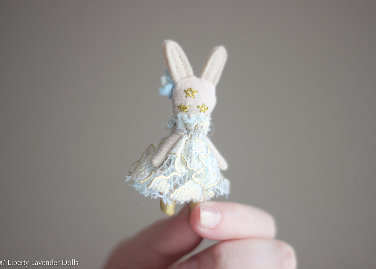 "Miniature Bunny Doll. Itty bitty decorative cloth doll About 2.5"" inches tall. Please read description."