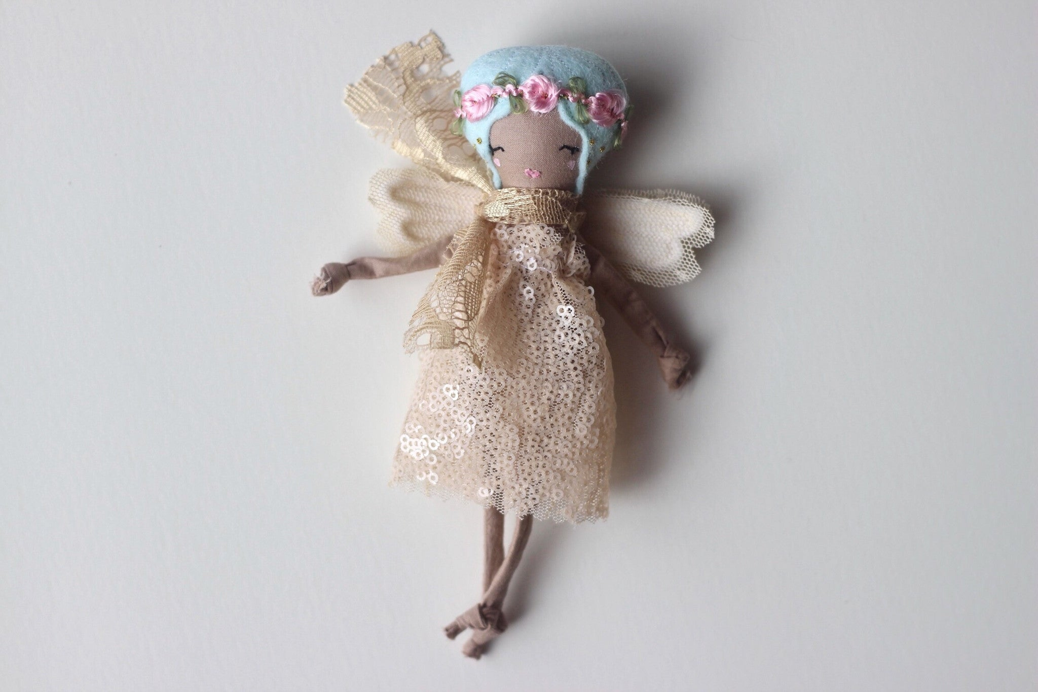 "Tiny Fairy Doll. Handmade Cloth Doll about 6"" Tall."