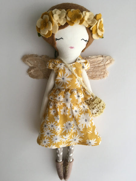 "Little Fairy Heirloom Doll. Handmade Cloth Doll. 11"" ish tall - sunshine brunette"
