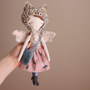 "Little Fairy Heirloom Doll. Handmade Cloth Doll. 11"" ish tall - Brunette Sleepy Fairy"