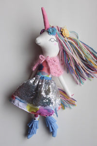 "Unicorn Doll. 18"" ish Luxe Rainbow Silver Star Unicorn. OOAK Handmade Cloth Heirloom Doll."