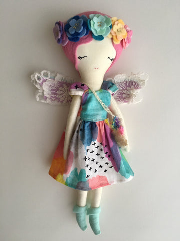 "Little Fairy Heirloom Doll. Handmade Cloth Doll. 11"" ish tall - Pinky Rainbow"