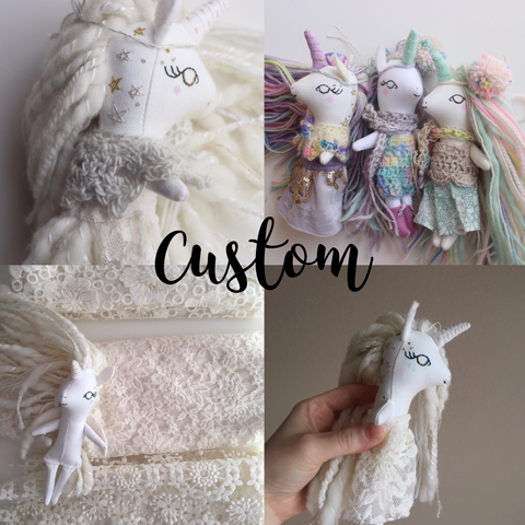 Mini Unicorn Doll - Custom Made to Order - Please read description.